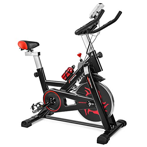 ODOGYM Indoor Cycling Bike Stationary - Exercise Bike with Comfortable Seat Cushion, Phone/Ipad Bracket, Heavy Flywheel and LCD Monitor for Home Gym (Red)
