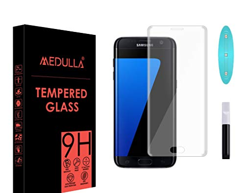 Medulla UV Tempered Glass Screen Protector for Samsung S7 Edge Border Less Full Coverage Edge to Edge with Installation Kit