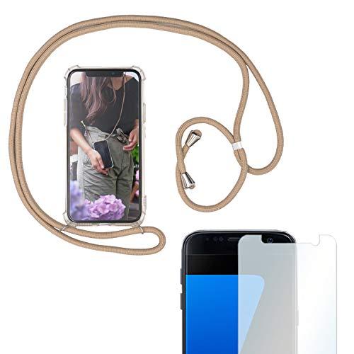 Eximmobile Handykette + Folie Schutzhülle kompatibel mit Samsung Galaxy A8 2018 Handy Hülle mit Band Seil Beige Schnur Hülle zum Umhängen Handytasche Umhängehülle Kette Kordel Silikoncase Tragen