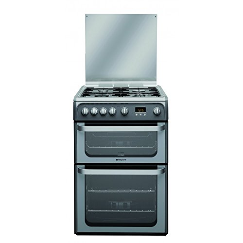 Hotpoint HUG61G Cooker Freestanding Gas Double Oven Graphite