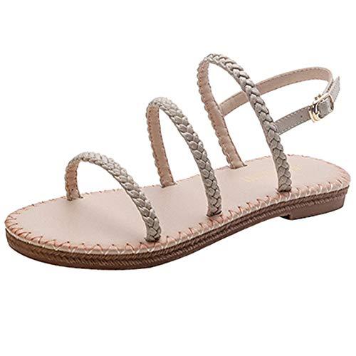 LXYYBFBD Damessandalen, zomerwoord met Romeinse sandalen, dames, all-match, abrikoos, modieus, comfortabel, platte schoenen, modieus, casual, bohemen, strand, romanstijl