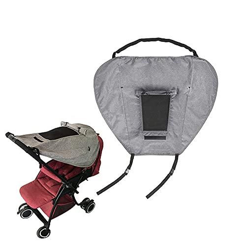 Toldo universal para cochecito de bebé AISHNA, protección solar con ventana, alas de sombra, protección UV 50+, impermeable, ajustable