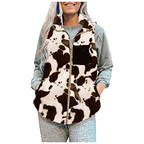 SHUNCHIFA Chaleco de mujer camuflaje cremallera abrigo otoño e invierno moda chaqueta de felpa con estampado de leche, marrón, M