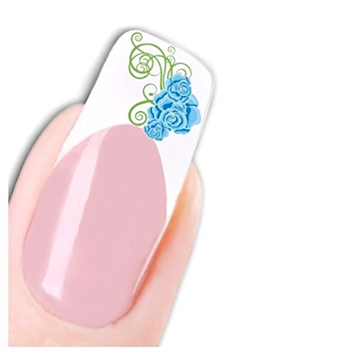 Just Fox – Stickers Fleurs pour ongles Nail art autocollants Blue Flower Pied Water Decal