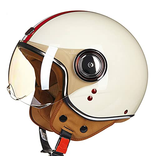 DDH Casco de Motocicleta, Casco Jet, Certificado por ECE y Punto, Casco de Scooter de piloto de Jet Vintage, visores Separados, Incluyendo Beige, m, l, XL-Cream  XL