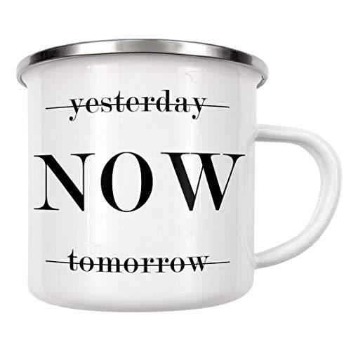 artboxONE Emaille Tasse Yesterday/Now/Tomorrow von Dunja Krefft - Emaille Becher Typografie