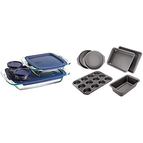 Pyrex Grab Glass Bakeware and Food Storage Set, 8-Piece, Clear & AmazonBasics 6-Piece Nonstick Oven Bakeware Baking Set