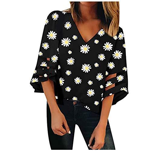 Damen V-Ausschnitt Loose Shirt Daisy Mesh Panel Bluse 3/4 Bell Sleeve Casual Tops