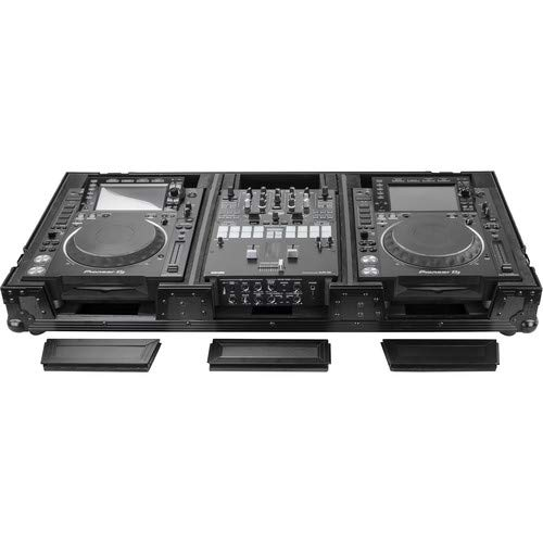 Fantastic Deal! BLACK LABEL EXTRA DEEP DJ COFFIN WITH WHEELS FOR A 10 FORMAT DJ MIXER & 2 LARGE FOR...