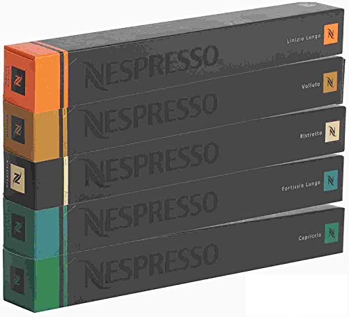 Nespresso Kapseln pro Kaffeemaschine – Sortiment – 10 x starke Lang, 10 x Ristretto 10 x Volluto 10 x Capriccio 10 x Linizio lang
