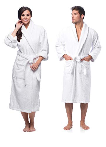 Rohi Plush Fleece Hotel Bathrobe - Premium 100% Turkish Cotton Robe, Perfect for Spa Gym Loungewear Long Robe Unisex White