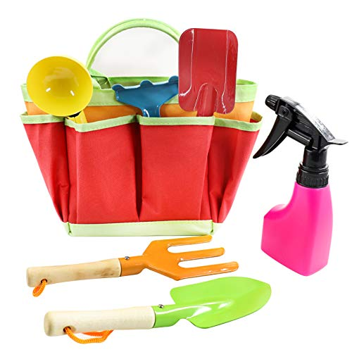 AGAKY Kids Gardening Set 7 Piece, Kids Gardening Tools with Shovel, Rake, Weed Fork & Carry Bag, Durable Garden Toys for Children, Beach Trowel set, Garden Small Hand Tools, Gardening Gifts for Child