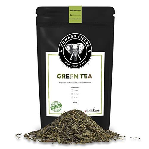 Edward Fields Tea ® - Té verde orgánico a granel de origen único China. Té bio recolectado a mano con ingredientes naturales, 100 gramos, China.