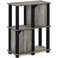 FURINNO Brahms 3-Tier Storage Shelf Bookcase with 2 Doors (French Oak Grey/Black,19209GYWBK)