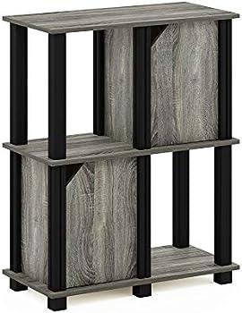 FURINNO Brahms 3-Tier Storage Shelf Bookcase with 2 Doors