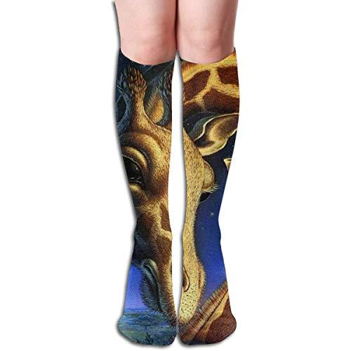 Calcetines largos largos para la rodilla de la galaxia de la jirafa de la galaxia de la jirafa del muslo largo de los calcetines, Como Cuadro Talla única
