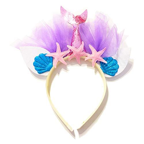 United Unicorns Best Little Mermaid Hairband Unicorn Glitter Cat Ears Headband for Girls Babies and Women Gift Ideas for Birthdays, Parties, Baby Shower (Mermaid Pink Tail and Pink Starfish)