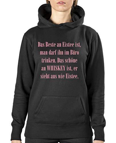Comedy Shirts - Das Beste an Eistee ist, Man darf ihn im Buero Trinken. - Damen Hoodie - Schwarz/Rosa Gr. S