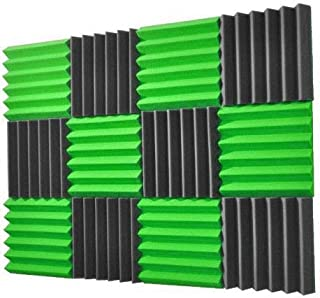 (12Pk) 2x12x12 Lime Green/Charcoal Soundproofing Foam Sheets Acoustic Wall Panels Tiles Studio Foam Sound Proof Padding Wedges Insulation Sound Dampening Foam Recording Studio Equipment Sound Proof 6T