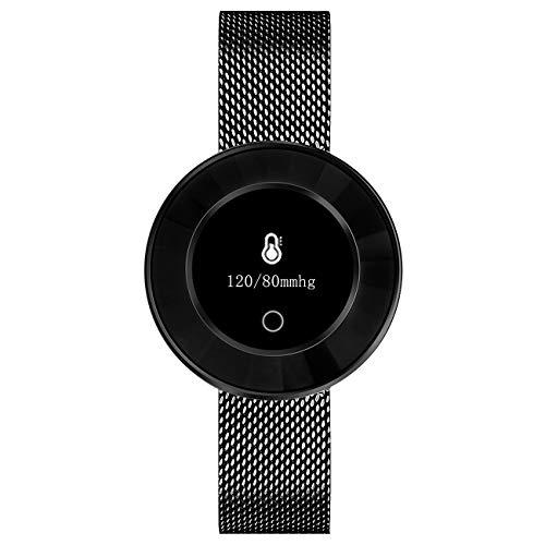 Fitness Tracker für Damen mit Herzfrequenz Blutdruck Sauerstoff Schrittzähler Smartwatch Armband Uhr Schwarz - 9705-7