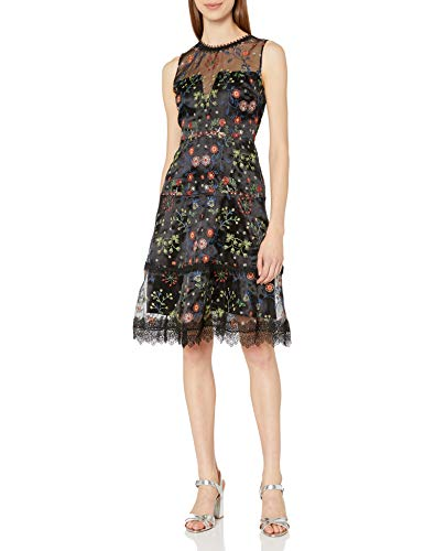 Elie Tahari Women's Maritza Dress, Black/Multi, 12
