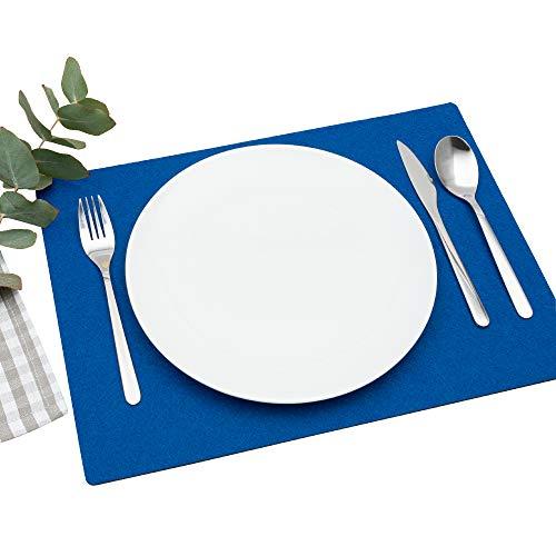 FILU Platzsets aus Filz 4er-Pack Blau eckig (Farbe und Form wählbar) 30 x 41 cm – Tischset für drinnen und draußen Deko für Esstisch im Wohnzimmer, Gartentisch/Balkontisch