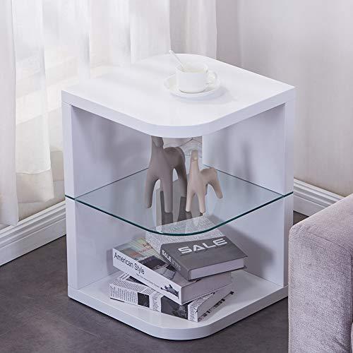 GOLDFAN Beistelltisch Rund Holz Moderner Hochglanz Beistelltisch Glas Kleiner Couchtisch für Büro Wohnzimmer Schlafzimmer, Weiß