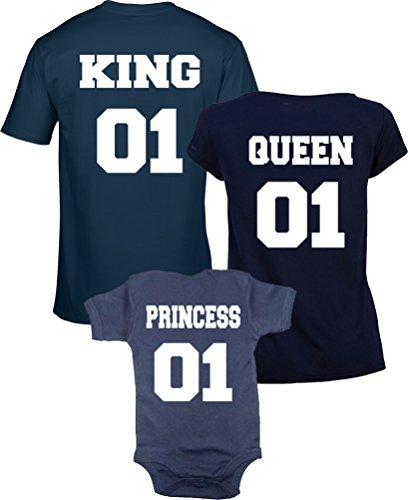 Ensemble DE Tee Shirt et Body Marine 'King 01, Queen 01 and Princess 01