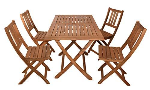 SAM 5-TLG. Gartengruppe Callao, 1x Tisch 120x70 cm + 4X Klappstuhl Blossom, Balkon-Set, Akazien-Holz