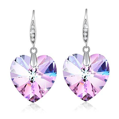 Cuore di cristallo Swarovski orecchini per donne regalo di pietra dei nati gioielli rodio placcato viola