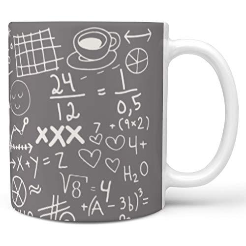 O2ECH-8 11 oz Lustige Mathematik Wasser Kakao Becher mit Griff Glatte Keramik Personalize Becher - Weiße Kreide Mädchen Frauen Geschenke, Geeignet für Haus verwenden White 330ml