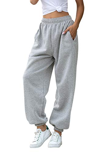 Women's Cinch Bottom Sweatpants Pockets High Waist Sporty Gym Athletic Fit Jogger Pants Lounge Trousers (Grey, Small)