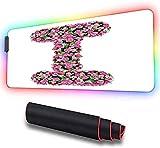 Alfombrilla de ratón grande, letra inicial I con Blo colorido, alfombrilla de ratón suave LED...
