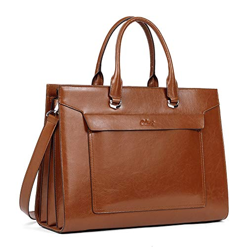 CLUCI Oil Wax Leather Briefcase for Women Vintage Laptop 15.6 Inch Slim Large Business Ladies Work Shoulder Bag Brown