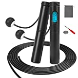 Jump Rope With Counter,Adjustable Digital Weighted Jumping Rope & Ropeless With Calorie Counter And Timer For Workout Fitness Training,Counting Skipping Rope For Adults,Kids,Girls (Black)