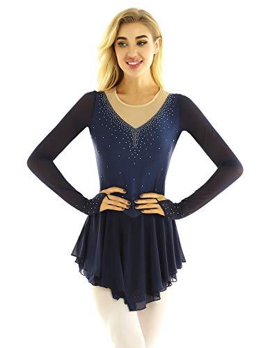 Freebily Vestito Pattinaggio Artistico Donna Maniche Lunghe con Strass Tutu Danza Classica da Balletto Ballerina Abito da Ballo Latino Samba Body Ginnastica Ritmica Navy Blu M