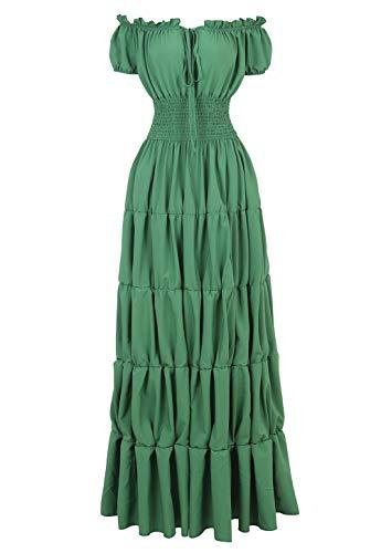 Haoaugut Women Renaissance Medieval Irish Costume Smocked Waist Over Dress Wench Pirate Peasant Cosplay Green