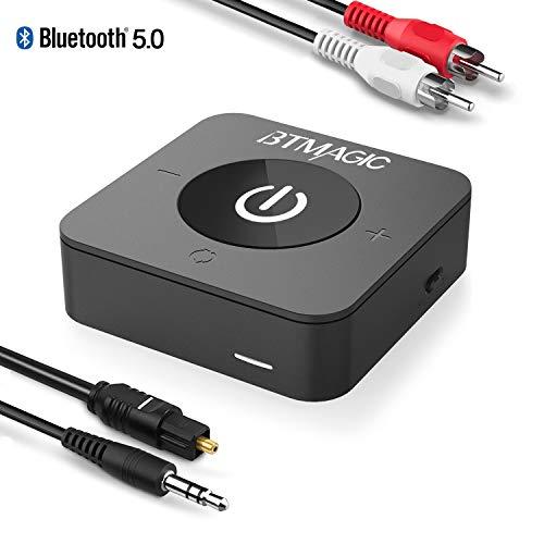 BTMAGIC Bluetooth 5.0 Sender Empfänger für TV Wireless Audio Adapter mit geringer Latenz für Heim-Stereolautsprecher PC-Kopfhörer (3,5 mm AUX, Cinch, Optisch, USB)(C)