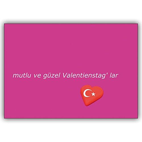Wenskaarten met hoeveelheidskorting: Valentijnsgroet (roze) op Turks met hart: mutlu ve Güzel Valentijnsdag ' lar • hoogwaardige 1a wenskaart met envelop voor lieve groeten 16 Grußkarten
