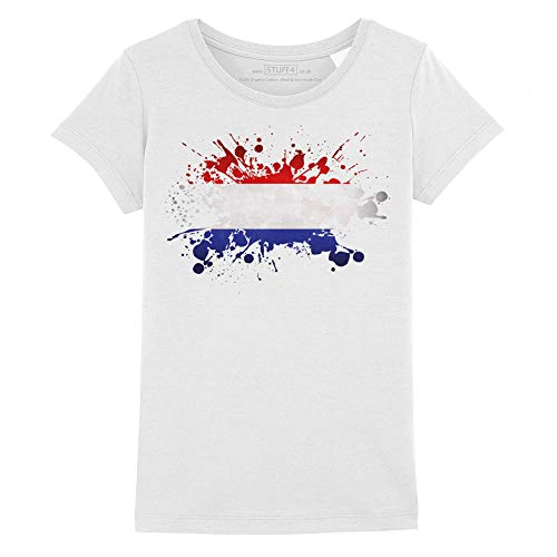 Stuff4 Meisjes T-Shirt/Nederland Vlag Splat/Ronde hals Casual Korte Mouw 100% Organisch Katoen