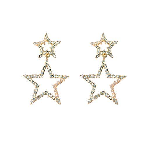 Pendientes S925 Pendientes con perno de plata Pendientes de pentagrama de perlas de diamantes premium