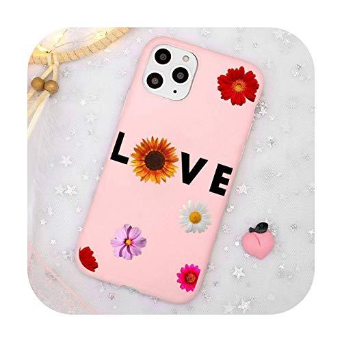 Linda caricatura margarita flor teléfono caso caramelo color rosa para iPhone 11 pro XS MAX 8 7 6 6S Plus X 5S SE 2020 XR-a9-iPhoneX o XS