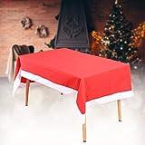 Trimming Shop Tema Natalizio Festività Cena Decorazioni 6 Coprisedie & 1 Tovaglia Set Babbo Tessuto Rosso Cover con Fiocco di Neve Bianco Pon Pon per Natale Celebrazione