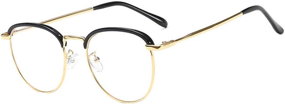 Sun Kea Unisex Plain Glasses Spectacles Retro Metal Frame Round