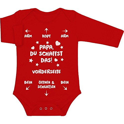 Shirtgeil Papa Du Schaffst Das - Witziges Strampler Motiv für Väter Baby Langarm Body 3-6 Monate Rot