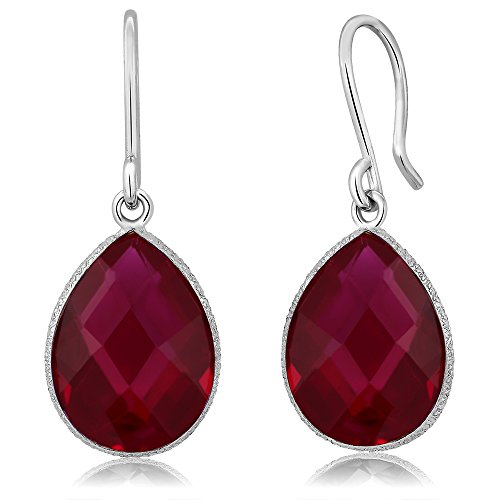 Gem Stone King 925 Sterling Silver Created Red Ruby Dangle Earring 12.00 Cttw Pear Shape 16X12MM