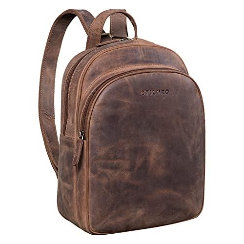 STILORD 'Aubrey' Zaino Donna Casual in Pelle Vintage Bolsa a Tracolla per Tablet da 10,9 Pollici Zainetto Elegante Daypack Handbag per Città Cuoio Genuino, Colore:marrone medio