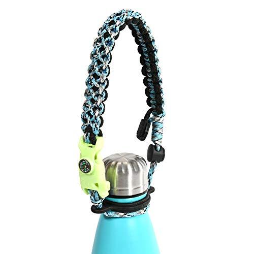 Leaseek Paracord Flaschengriff ist kompatible mit Swell, MIRA, Simpel Modern Flasche und andere colaförmige Wasserflasche Edelstahl Trinkflaschenhalter | Halter - Für 350ml-1000ml (Camo Blau)
