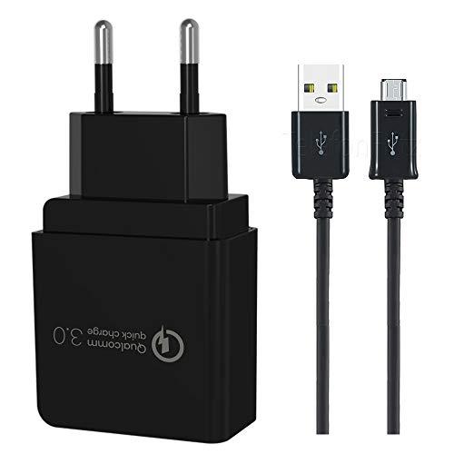 TELEFONMAX Original Qualcomm 3.0 Netzteil 18W Schnellladegerät XXL Ladekabel Micro USB 1.5m für HTC Desire 12/ 12s/ 12+/ One X10/ One S9/ One M9/ M9+ / A9 / Desire 830/825/ 650/628/ 625/530 schwarz