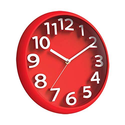 Hwcpadkj Moderno Reloj de Pared silencioso de Cuarzo no Hace tictac, Decorativo Funciona, Sala de Estar, Oficina, Reloj de Pared de Tiempo Simple y Creativo,Rojo